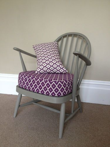 Vintage Ercol Chair Hand Painted With Newly Upholstered Cushion Designer Fabric   eBay