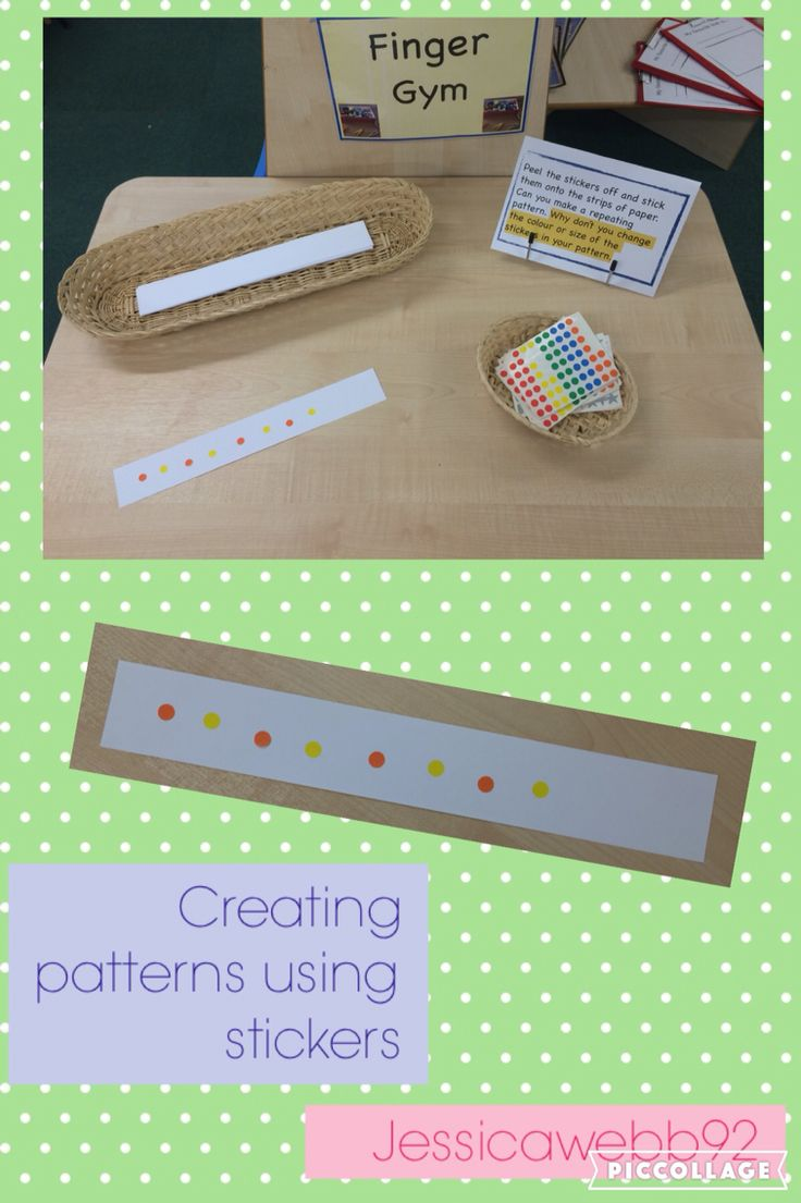 Creating repeating patterns and developing fine motor skills by using stickers on the finger gym. EYFS