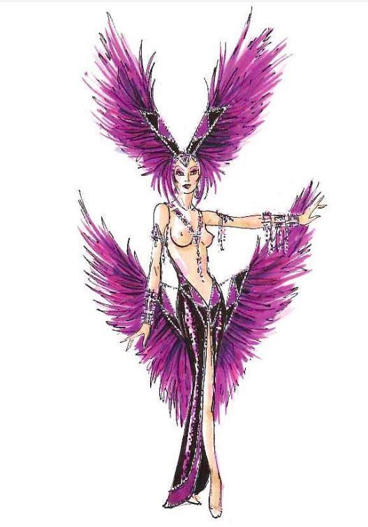 Amethyst Jubilee Showgirl sketch by Bob Mackie