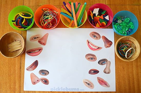 We love loose parts play! Make some crazy faces with loose parts and our free printable facial features!
