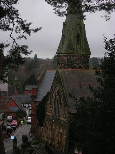 Oswestry Church - at dusk.