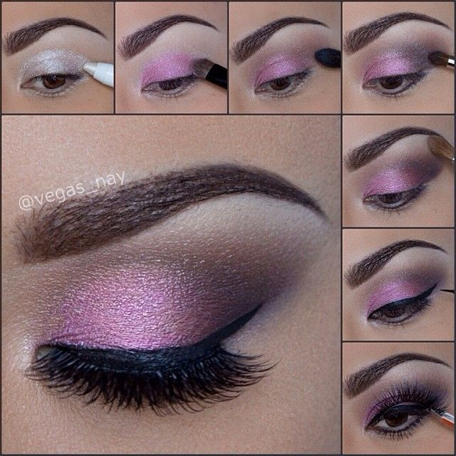 Vegas_nay -  Soft Pink Smokey Eye Pictorial✨ Using @NYX Cosmetics Love in Paris - LET THEM EAT CAKE eyeshadow palette. 1.) prime eye w/ NYX cottage cheese jumbo pencil 2.) pat PINK color on lid 3.) blend LIGHT BROWN through crease 4.) apply DARK BROWN on outer V of crease For definition 5.) apply BONE color to brown bone 6.) line top lid with black liquid liner 7.) apply lashes from @House of Lashes in Pixie Luxe & @kelleybakerbrows brows in color brown. Hope you like it :)) xoxo #vegas_nay