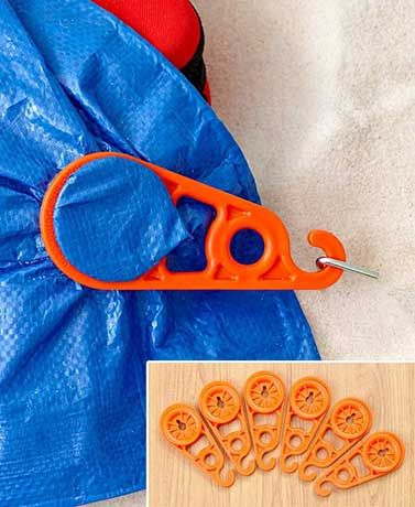 Reusable Snap Tarp Holders are great for home, camping and the worksite. Specially designed clips snap right on the tarp--no grommets or holes needed. Then, att