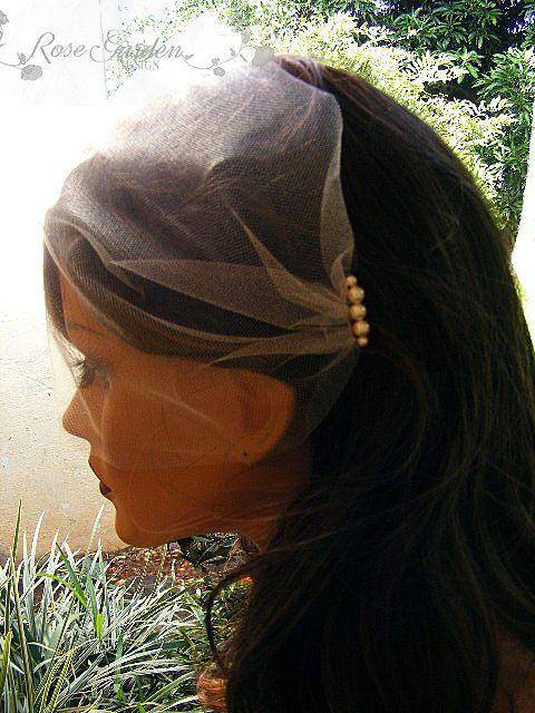 Wedding Birdcage Veil with Swarovski pearls, Blusher Veil, Bandeau veil, Ivory veil, White veil, Bridal veil, Voilette avec perles Swarovski on Etsy, $22.90