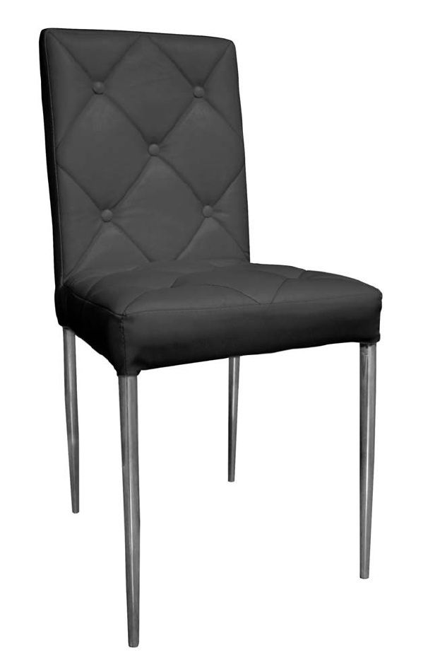 Silla Nora: Silla extructura metálica con recubrimiento cromado. Tapizado en PU lavable. Colores disponibles negro y blanco . Patas con conteras de plástico antirrayado.
