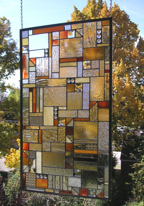 "Mission Style Geometric Clear and Warm Tones-- 18"" x 32""--Stained Glass Window Panel"