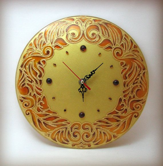Art Nouveau Patterns Wall Clock Home by ArtMasha | Hand painted stained glass.
