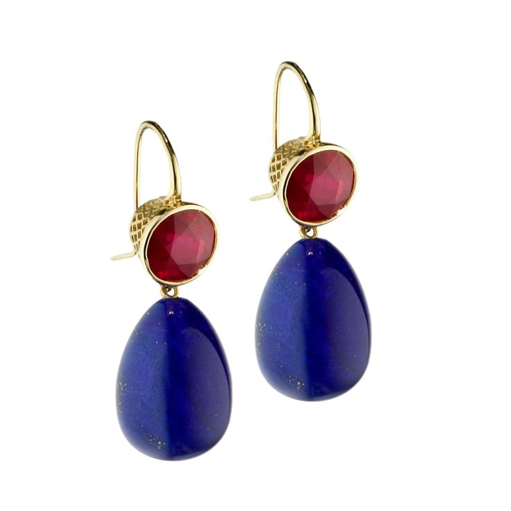 18ct Yellow Gold 9mm crownwork set ruby (6.9cts) earrings with lapis drops