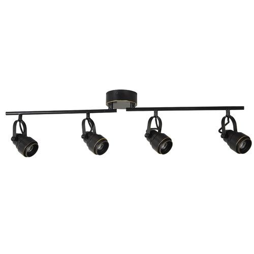 dimmable track lighting system. features: -numbers of lights: 4. -fully adjustable track heads. - dimmable lighting system