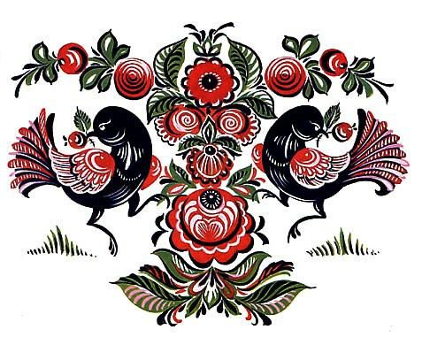 Folk Gorodets painting from Russia. A floral pattern with two birds. #art #folk #painting #Russian