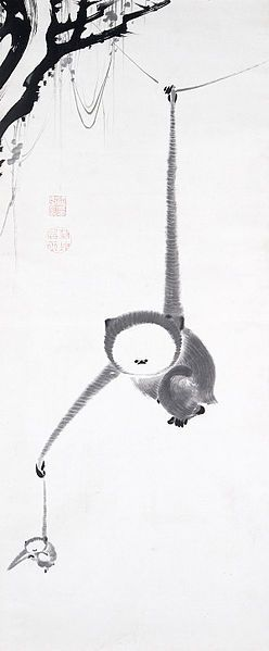Ito Jakuchū (伊藤 若冲, 1716-1800) - Two Gibbons Reaching for the Moon, c. 1770, Japan, Edo period, Hanging scroll, ink on paper. S)