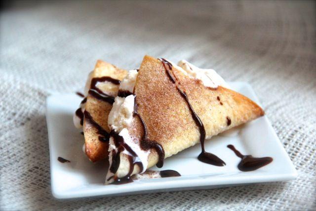 Ice Cream Tacos with Cinnamon Sugar Wonton Shells