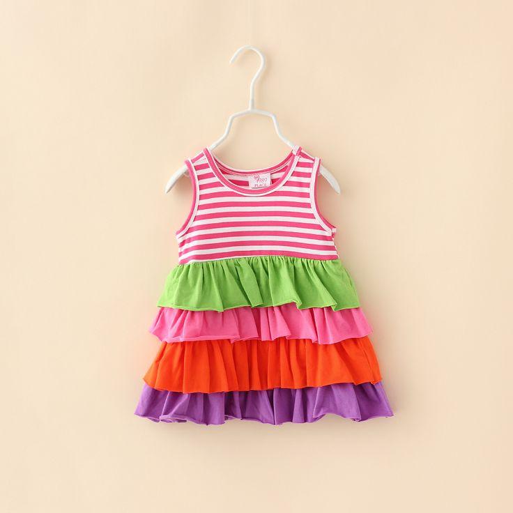 Девочки-младенцы полоска хлопок свободного покроя платья для лето бренд малыша одежда дети дети одежда торт платье