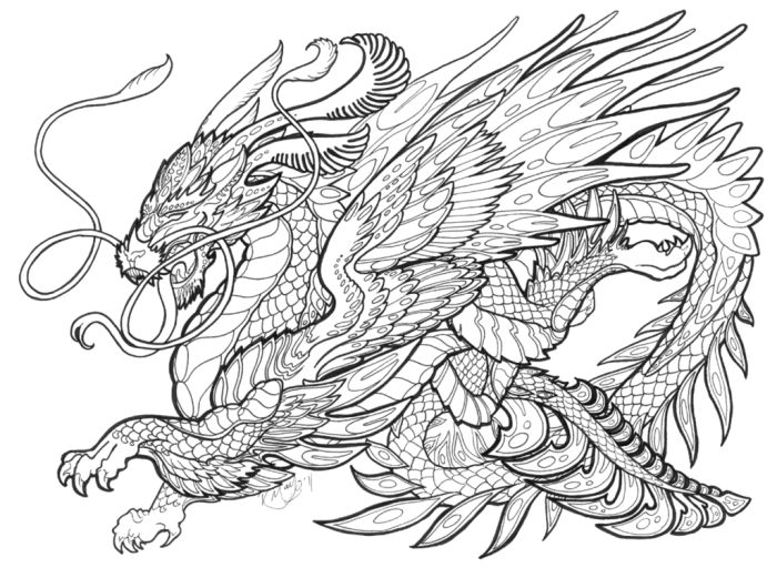 creatures coloring pages for adults bing images - Dragon Coloring Pages For Adults