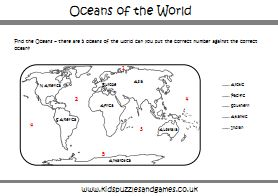 Continents Of The World Worksheets Oceans of the World