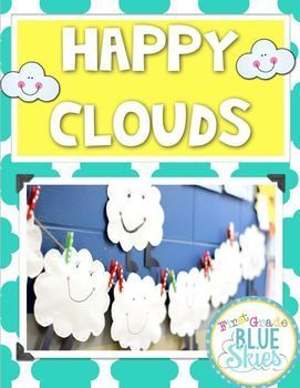 This is a great freebie to extend your cloud and weather study.  Who doesn't love a Fluffy, Happy, Stuffed Cloud Craft?  Cloud printables are for observing and writing about clouds.  Also a graphic organizer for Cumulus, Cirrus, Cumulonimbus, and Stratus Clouds.