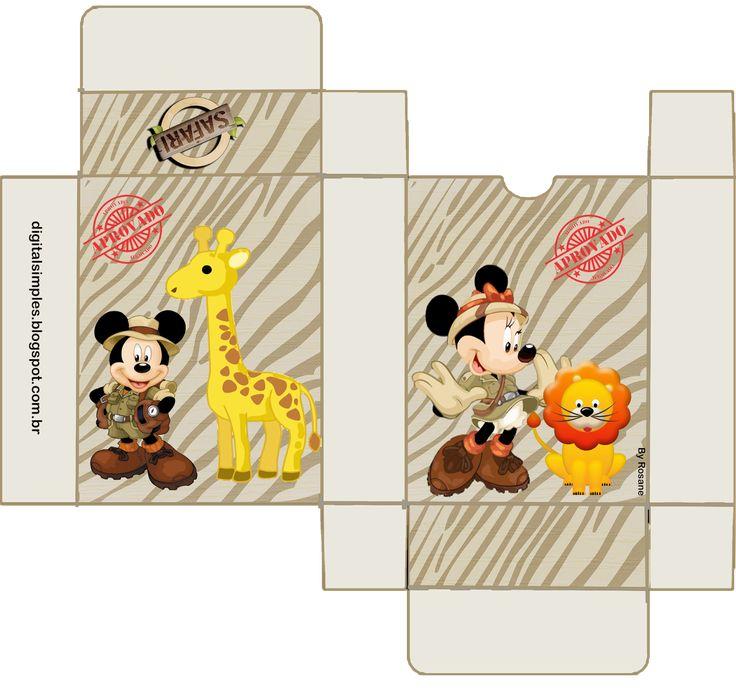 Mickey y Minnie de Safari: Cajas para Imprimir Gratis.