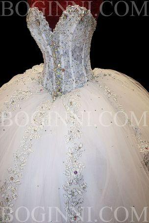 WHITE AB CRYSTAL LACE CORSET SWAROVSKI WEDDING DRESS on The Hunt