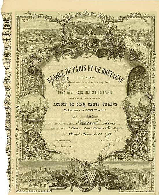 Banque de Paris et de Bretagne Société Anonyme  Paris, 2 December 1879, Share of 500 Francs, Libérée de 250 Francs, #497, 36.6 x 25.7 cm,