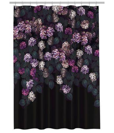 schwarz hortensie duschvorhang aus wasserabweisendem polyester mit fotodruck metall sen zum. Black Bedroom Furniture Sets. Home Design Ideas