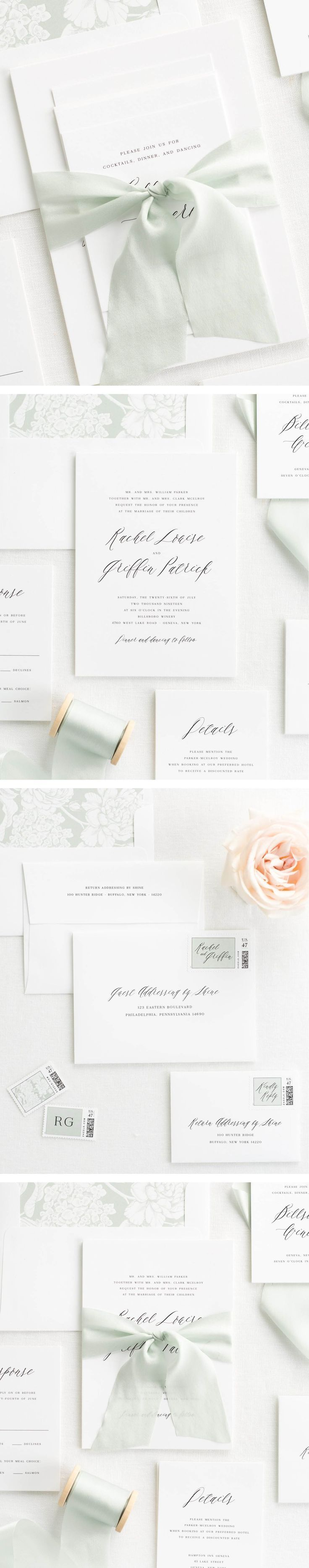 The Rachel wedding invitation collection is perfect for any light and enchanting wedding.