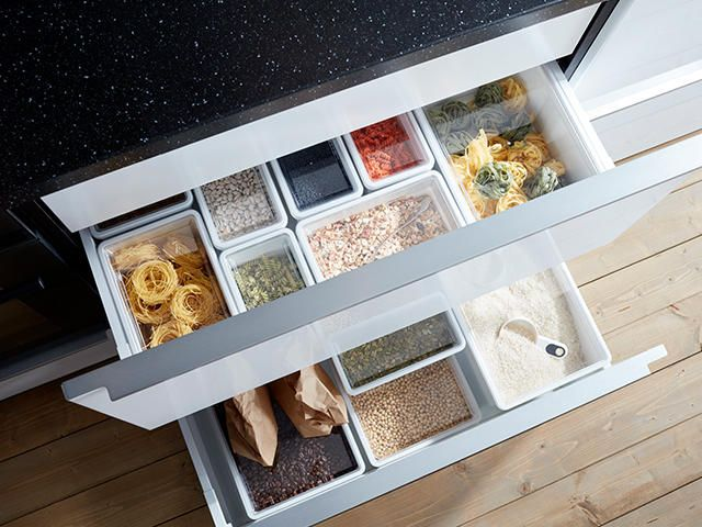 kitchen drawer with organization containers