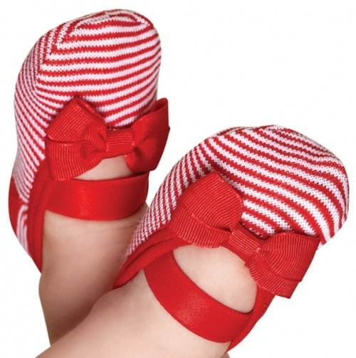 Red & White Striped #Baby #Girl #Sock #Shoes