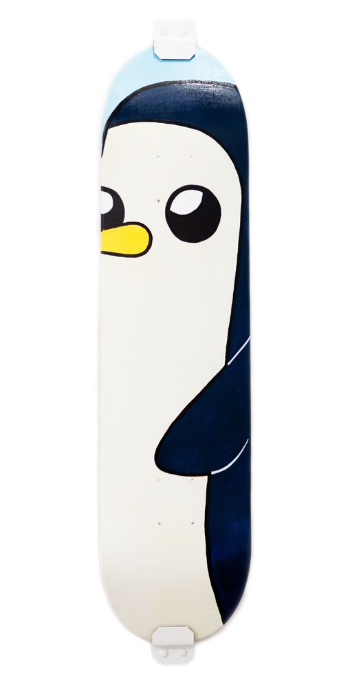 This is cute, but unfortuneately the face would be covered by the wheels. if the artist were to move the penguin down slightly it would be awesome.