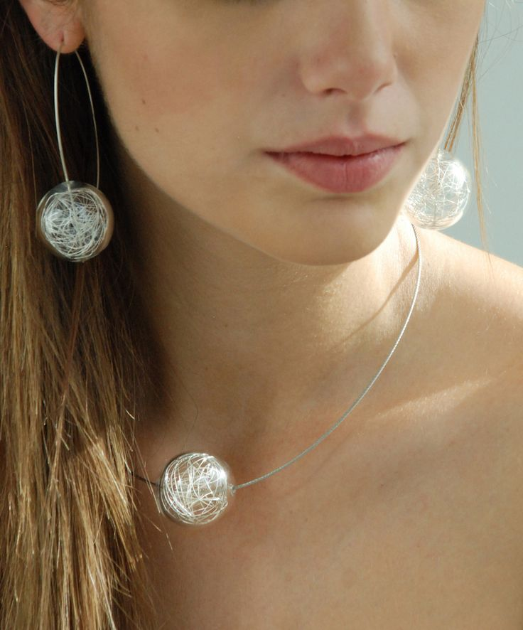 Vetroricerca, Selene Collection, Glass and silver necklace and earrings