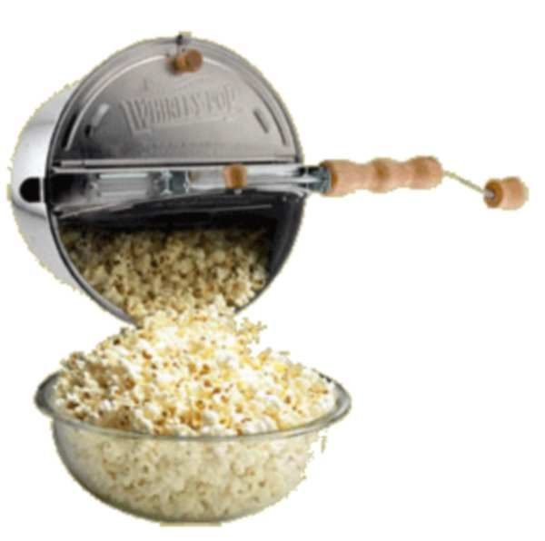 Whirley Pop popcorn maker. Popcorn made with coconut oil...after popcorn is popped add a little melted butter, salt & pepper.  YUM!