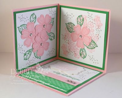 New tutorial for sale on my blog today. Stampin' Up! Birthday Blossoms and a Pop-Up Card that folds flat for mailing. Debbie Henderson, Debbie's Designs.