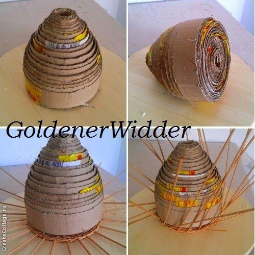 Плетение из газетных трубочек: Домик для пасхальных яичек. Форма для плетения