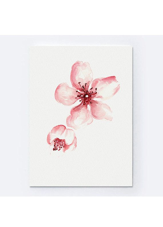 Cherry Blossom Art Print Pink Floral Poster by ColorWatercolor