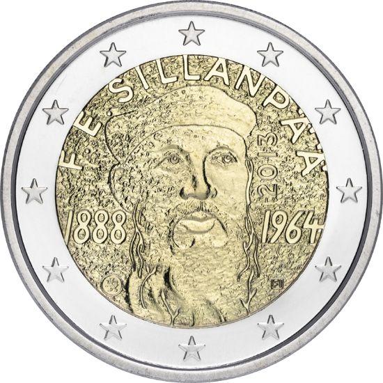 """Kahden euron erikoisraha """"F.E. Sillanpää"""" Proof kotelossa"""