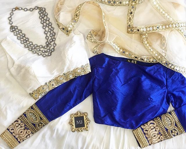 M A N I J A S S A L Electric Blue Devika Top X White RAJI Top X Dainty Mirror Work Dupatta Tops Available for Pre Order ONLY Email: info@manijassal.com #ootd#ootn#potd#lengha#choli#lenghacholi#mkj#manijassal#dupatta#weddingseason#bespoke#silk#100