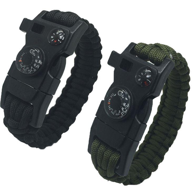 New  Survival Bracelet Flint Fire Starter Gear Escape Paracord Whistle Cord Buckle Camping Bracelets Rescue Rope Travel Kits