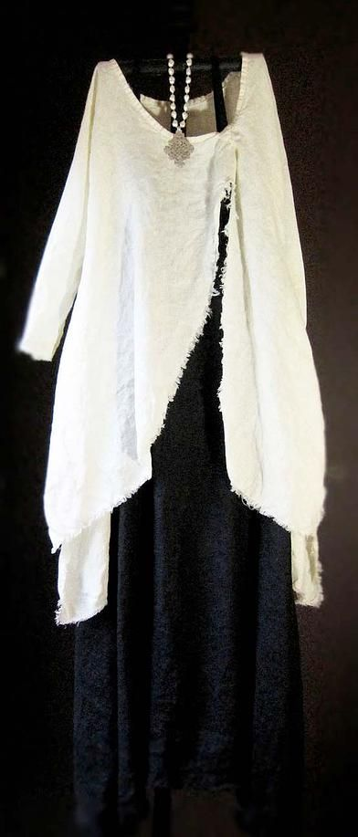 Tina Givens - Basic dress; cut slit up front; edge stitch; vertical gather at top; Ta-da!