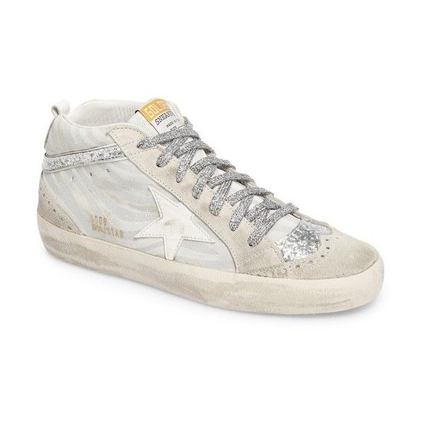 Women's Golden Goose Star Mid Top Sneaker (3.455 DKK) ❤ liked on Polyvore featuring shoes, sneakers, white zebra, star shoes, silver shoes, white shoes, zebra print sneakers and silver trainers