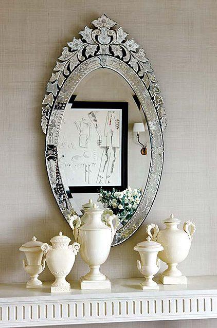 gorgeous mirror and white urns make a beautiful presentation.: White Urn, Gorgeous Mirror, Mirror Mirror, Venetian Mirror, Design Interiors, Decoration Idea, Mirrormirror, Beauty Mirror, Venetianmirror