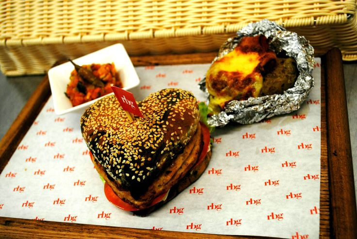 Heart shape burger  with baked potatoes