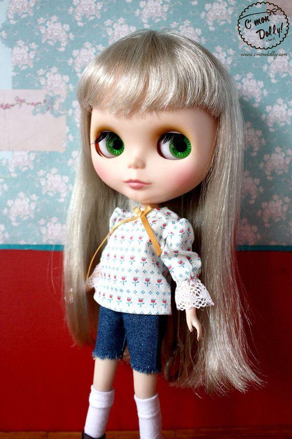 Blythe Momoko Pullip vintage peasant blouse by cmondolly on Etsy