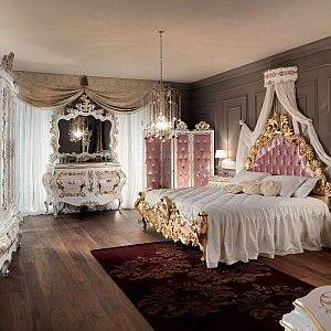 Classical-royal-bedroom-with-upholstered-and-padded-headboard-Villa-Venezia-collection-Modenese-Gastone.jpg - Camera da letto rosa con intagli e decori in foglia oro