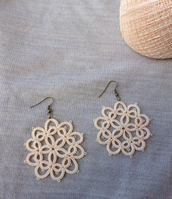 Τatting lace earrings/Frivolite earrings/Lace jewelry/Tatted jewelry