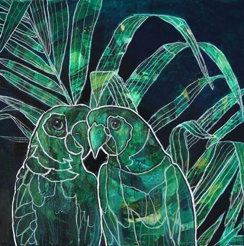 Papegøyer, maleri av Gunilla Holm Platou