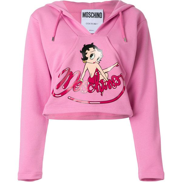 b89cd8d4427 Moschino cropped Betty Boop hoodie ($550) ❤ liked on Polyvore featuring tops,  hoodies, pink hooded sweatshirt, pink crop top, graphic crop tops, ...
