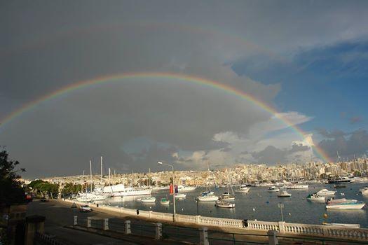 A beautiful rainbow seen from Ta' Xbiex. Saturday 1st March 2014