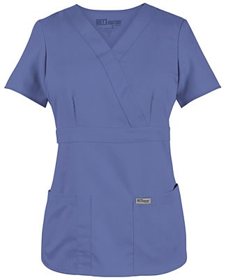 $18.99 Greys Anatomy Jr Fit Mock Wrap Scrub Top  -- LOVE Greys Anatomy by Barco Brand for scrubs. They're so freaking comfy! (we had them for school uniforms at Shawsheen LPN)