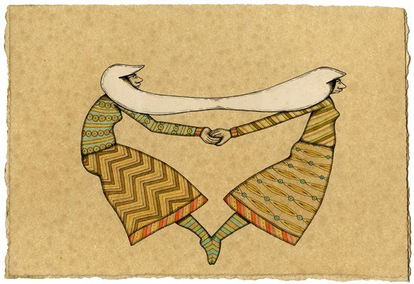 """Balance by Mel Kadel; 2010; ink and collage on paper; 6.5"""" x 9.5"""" 