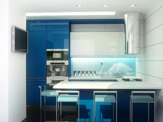 3D Glass Backsplash Design With LED Lights For Small Kitchen 3D Glass  Panels With Photo Printing