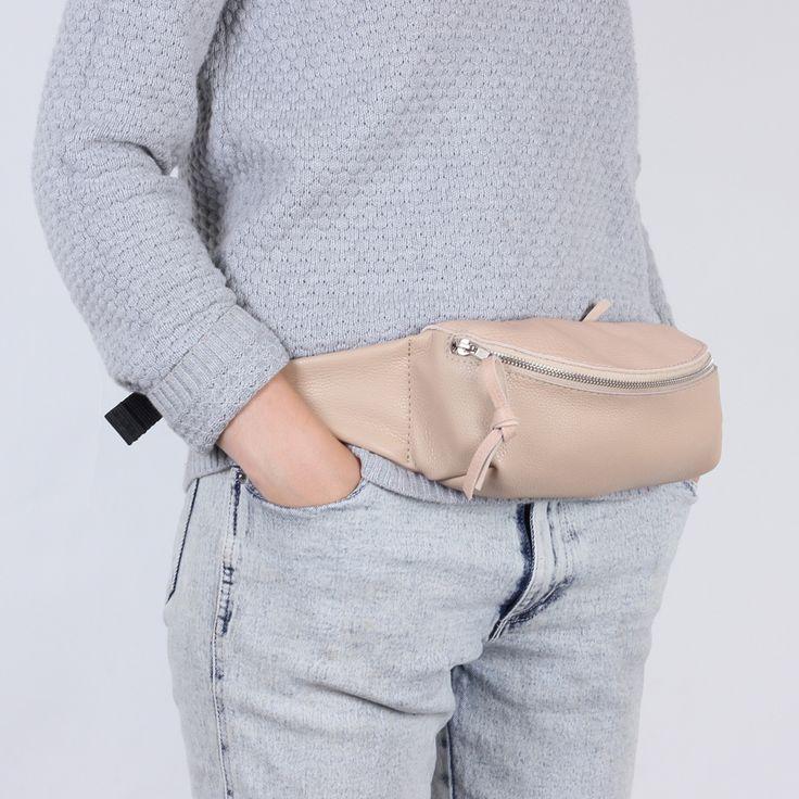 Кремовая поясная сумка из двух оттенков кож Kokosina Х GO